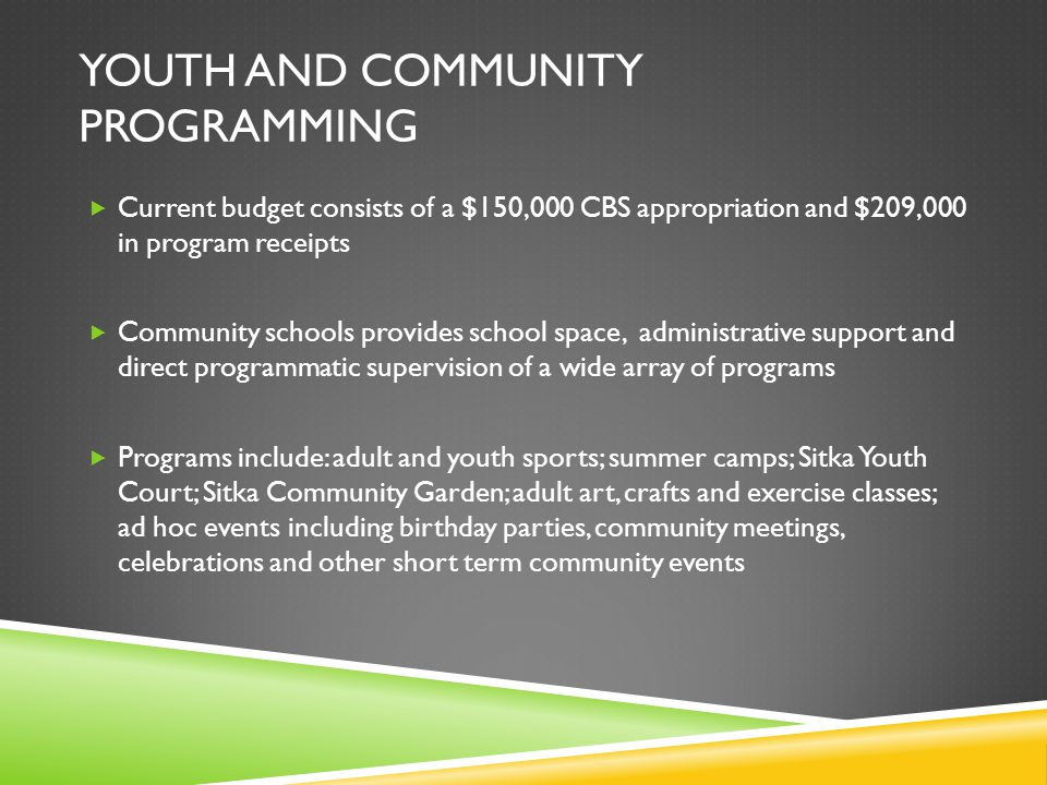 YOUTH AND COMMUNITY PROGRAMMING  Current budget consists of a $150,000 CBS appropriation and $209,000 in program receipts  Community schools provide