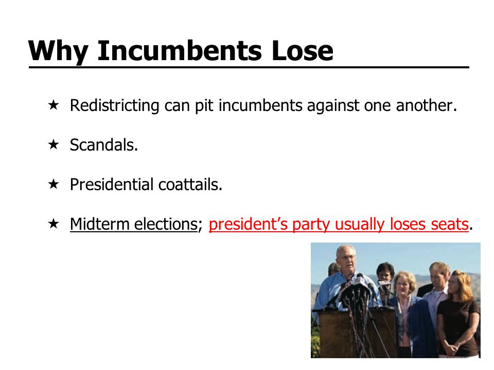 Why Incumbents Lose  Redistricting can pit incumbents against one another.