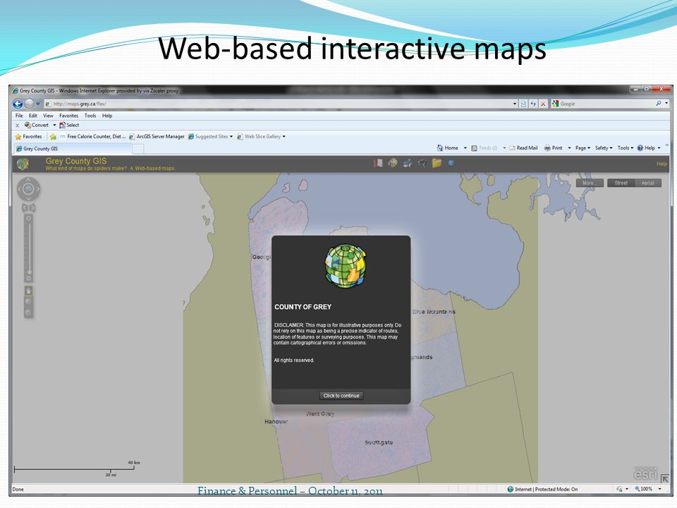 Web-based interactive maps Finance & Personnel – October 11, 2011