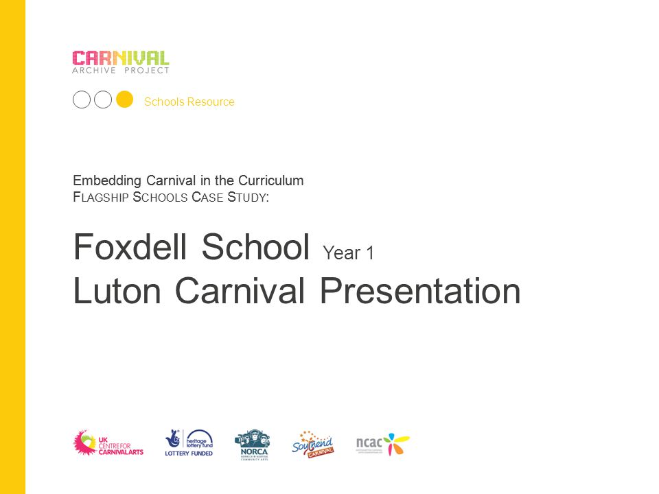 Embedding Carnival in the Curriculum F LAGSHIP S CHOOLS C ASE S TUDY : Schools Resource Embedding Carnival in the Curriculum F LAGSHIP S CHOOLS C ASE S TUDY : Foxdell School Year 1 Luton Carnival Presentation