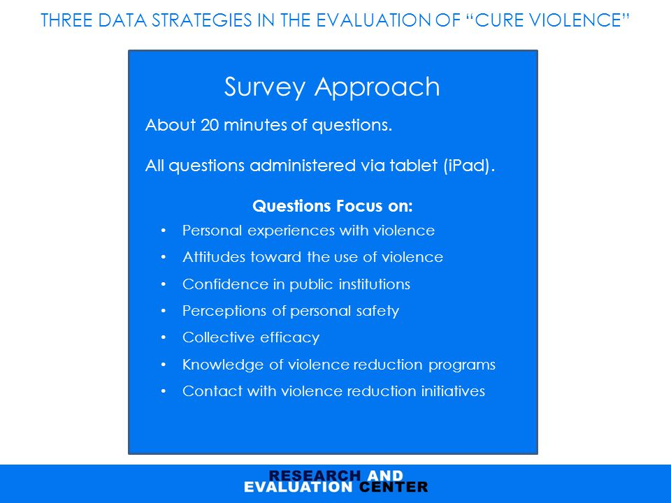THREE DATA STRATEGIES IN THE EVALUATION OF CURE VIOLENCE Survey Approach About 20 minutes of questions.