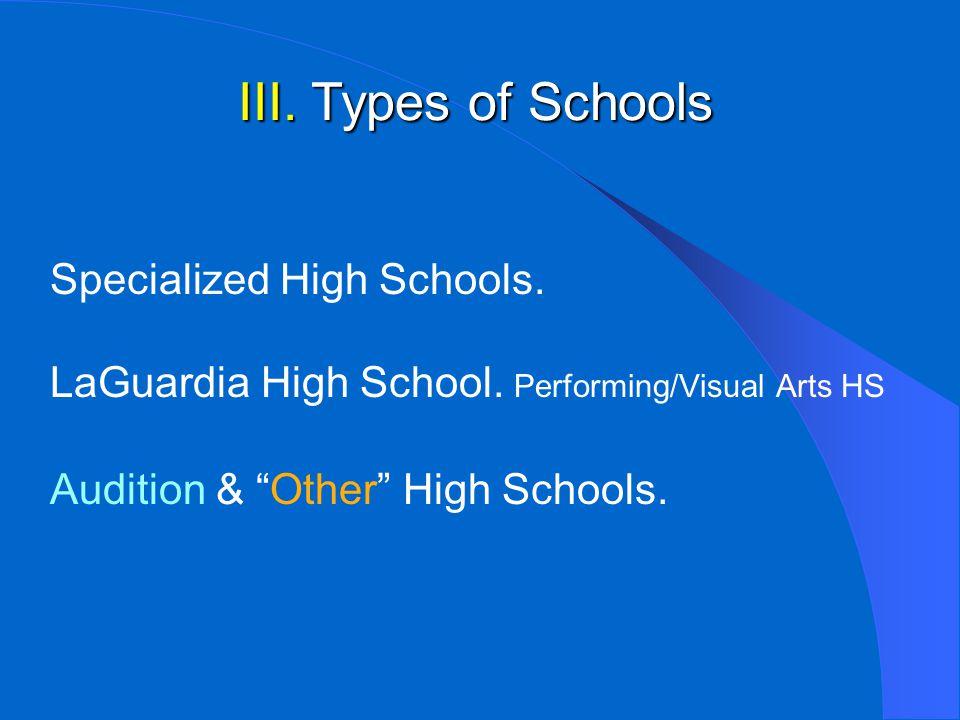 III. Types of Schools Specialized High Schools. LaGuardia High School.