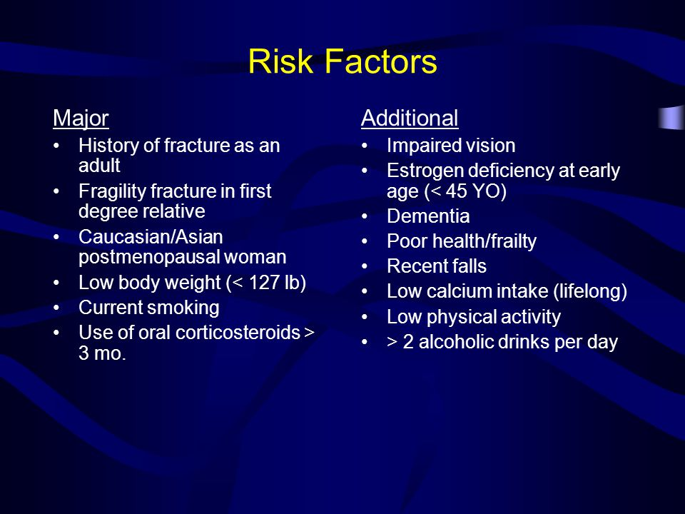 Factors Associated with Bone Loss in Men Genetics Smoking/alcohol Calcium intake Physical activity/strength Testosterone production Estrogen production