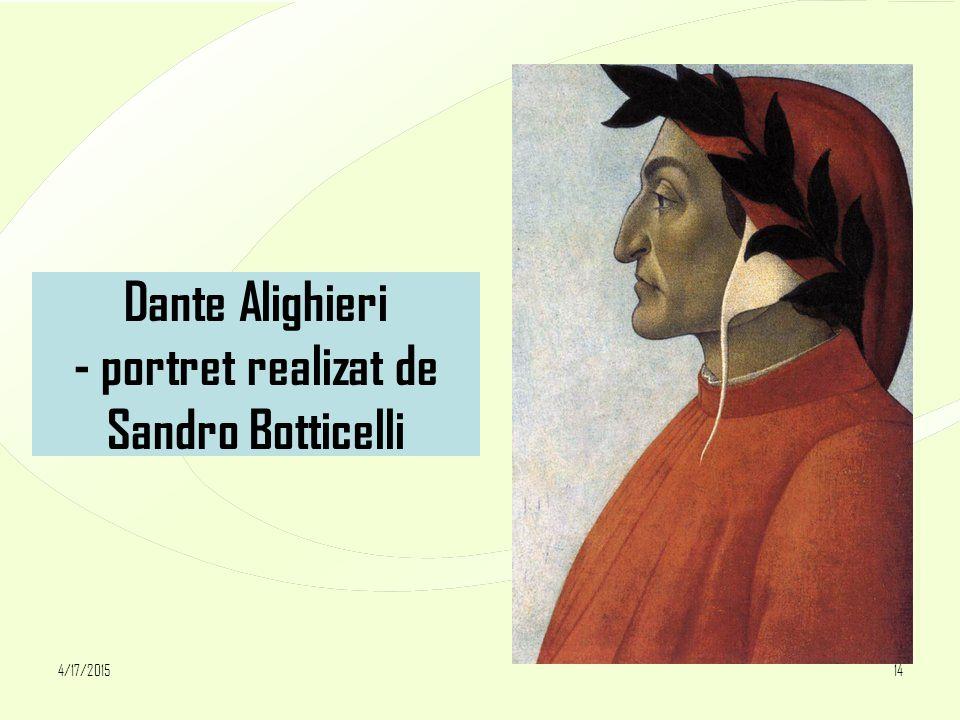 4/17/201514 Dante Alighieri - portret realizat de Sandro Botticelli