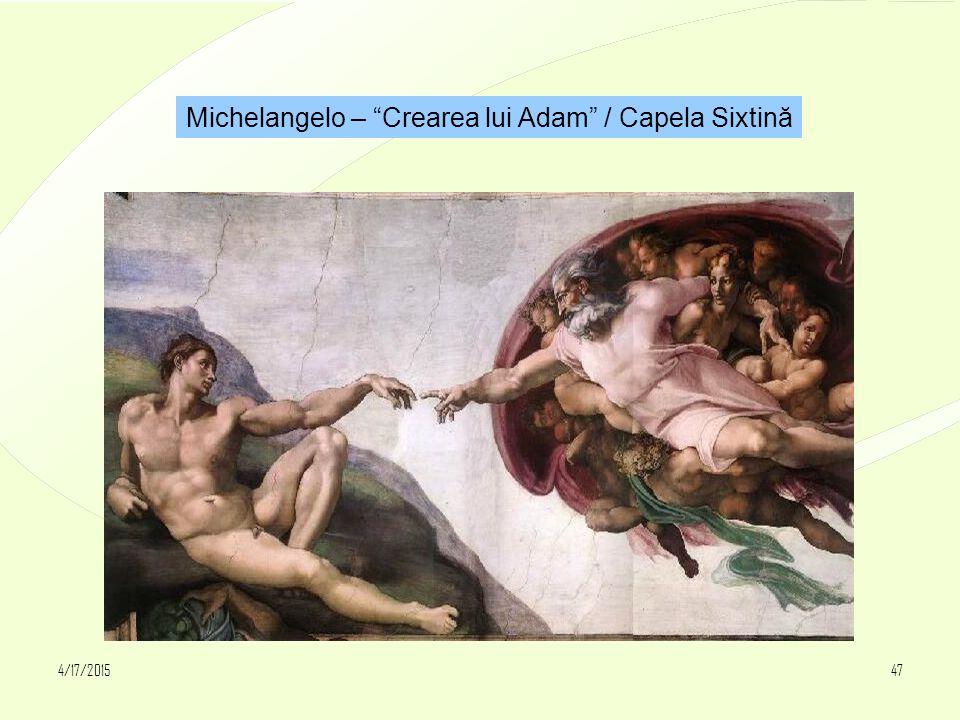 """4/17/201547 Michelangelo – """"Crearea lui Adam"""" / Capela Sixtină"""
