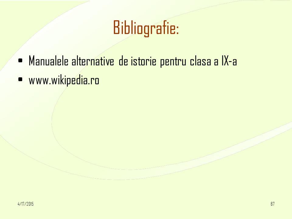4/17/201567 Bibliografie: Manualele alternative de istorie pentru clasa a IX-a www.wikipedia.ro