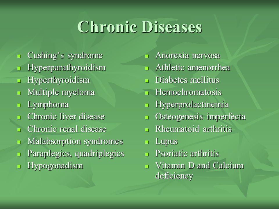 Chronic Diseases Cushing's syndrome Cushing's syndrome Hyperparathyroidism Hyperparathyroidism Hyperthyroidism Hyperthyroidism Multiple myeloma Multip