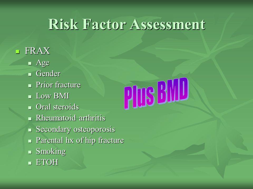 Risk Factor Assessment FRAX FRAX Age Age Gender Gender Prior fracture Prior fracture Low BMI Low BMI Oral steroids Oral steroids Rheumatoid arthritis