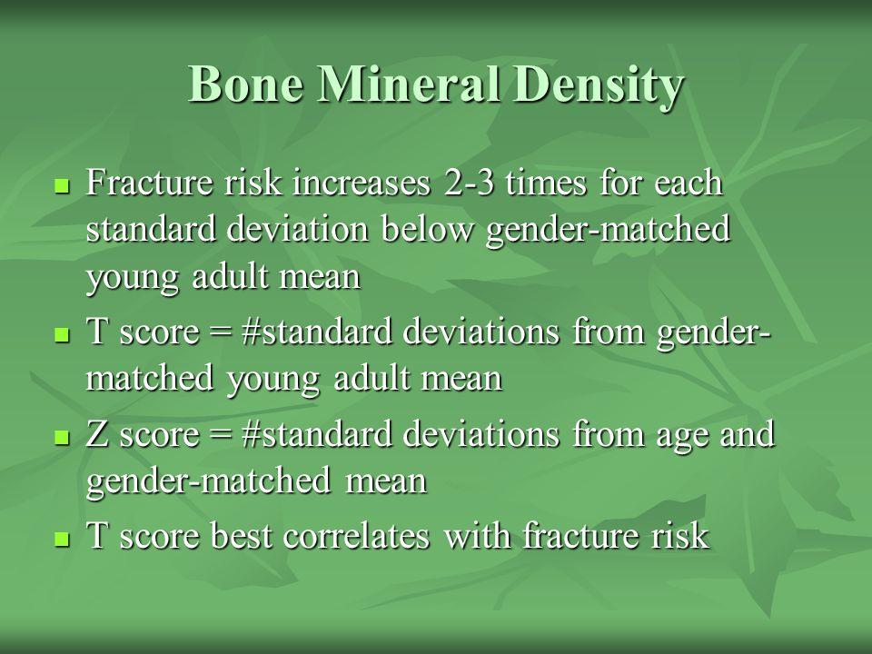 Bone Mineral Density Fracture risk increases 2-3 times for each standard deviation below gender-matched young adult mean Fracture risk increases 2-3 t