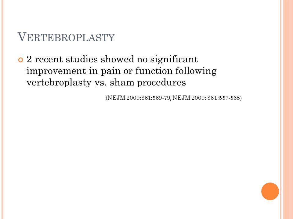 V ERTEBROPLASTY 2 recent studies showed no significant improvement in pain or function following vertebroplasty vs. sham procedures (NEJM 2009:361:569