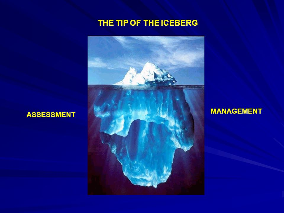 THE TIP OF THE ICEBERG ASSESSMENT MANAGEMENT
