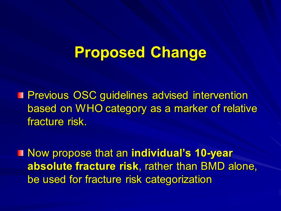 Proposed Change Previous OSC guidelines advised intervention based on WHO category as a marker of relative fracture risk.