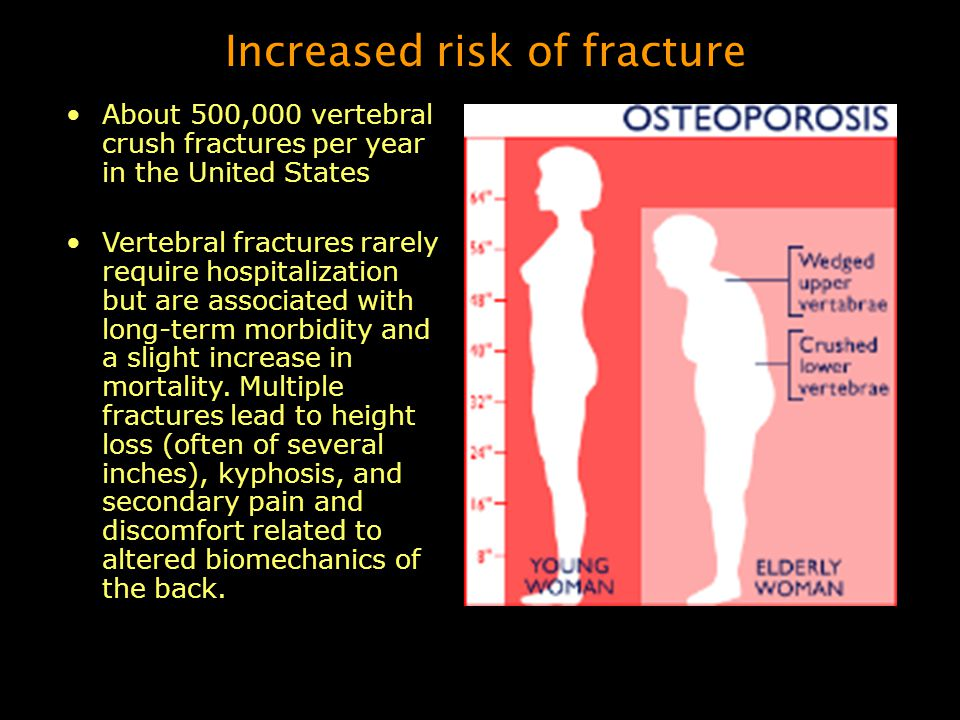 Pathogenesis Diminished bone mass can result from: –failure to reach an optimal peak bone mass in early adulthood –increased bone resorption –decreased bone formation after peak bone mass has been achieved All three of these factors probably play a role in most elderly persons.