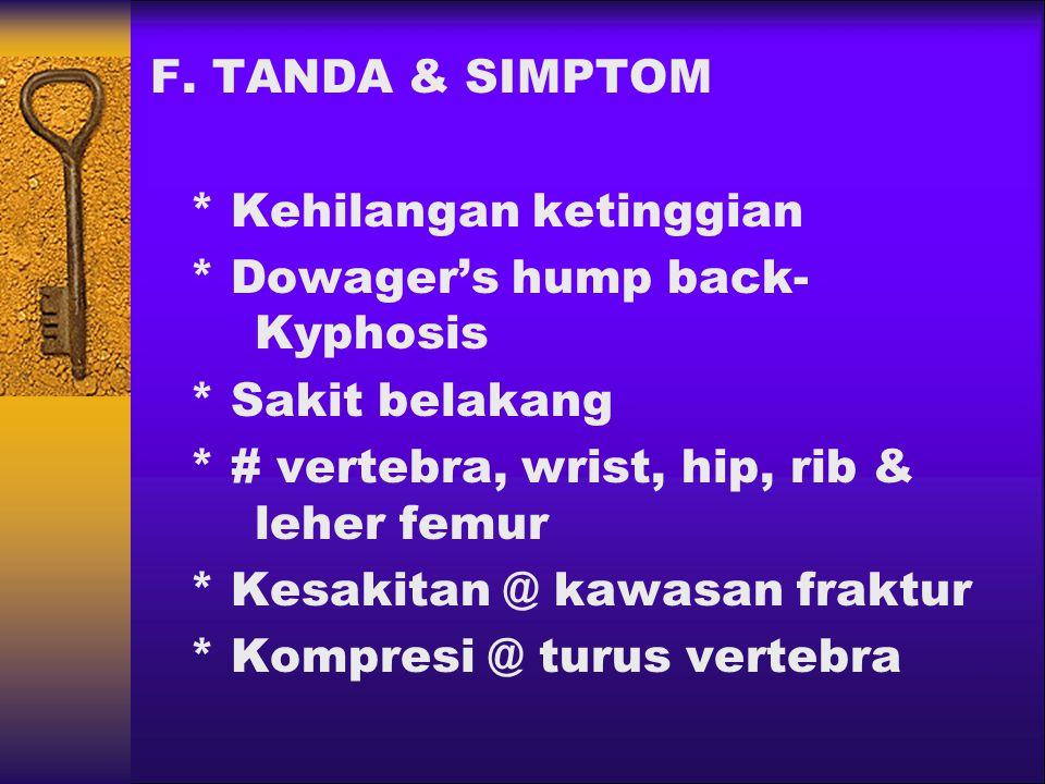 F. TANDA & SIMPTOM * Kehilangan ketinggian * Dowager's hump back- Kyphosis * Sakit belakang * # vertebra, wrist, hip, rib & leher femur * Kesakitan @