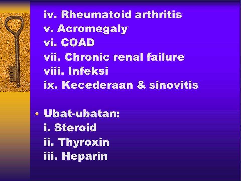 iv.Rheumatoid arthritis v. Acromegaly vi. COAD vii.