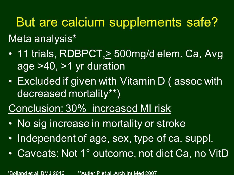 But are calcium supplements safe. Meta analysis* 11 trials, RDBPCT,> 500mg/d elem.