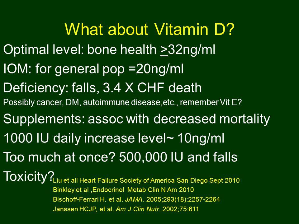 What about Vitamin D? Liu et all Heart Failure Society of America San Diego Sept 2010 Binkley et al,Endocrinol Metab Clin N Am 2010 Bischoff-Ferrari H