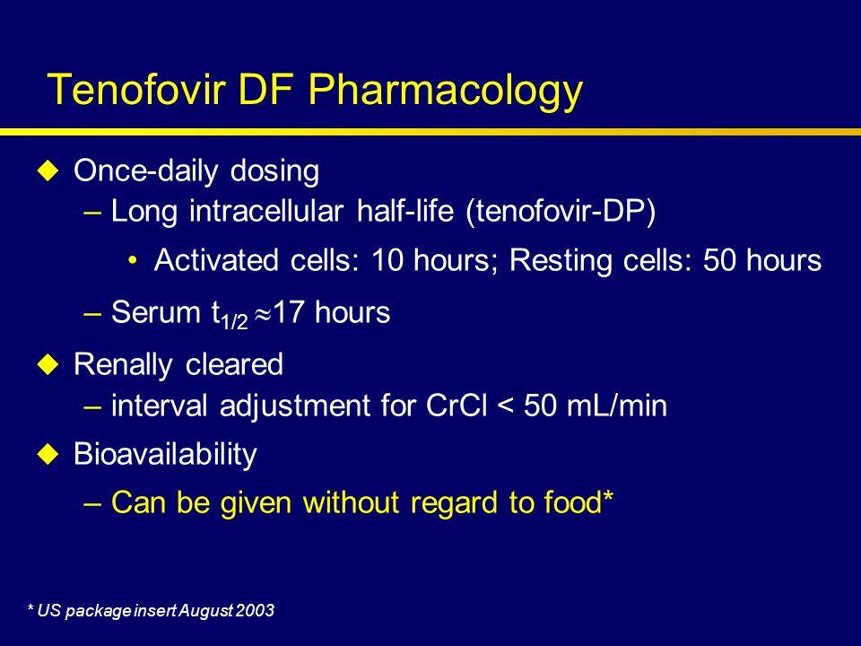 Tenofovir DF 300 mg Placebo Tenofovir DF 300 mg Stable ART  8 weeks randomized 2:1 24 wks 48 wks n=550 24 wks Double- blind Open- label HIV RNA 400 to 10,000 copies/mL; no CD4 criteria Squires K et al (2003) Annals of Internal Medicine In Press Study 907 Study Design