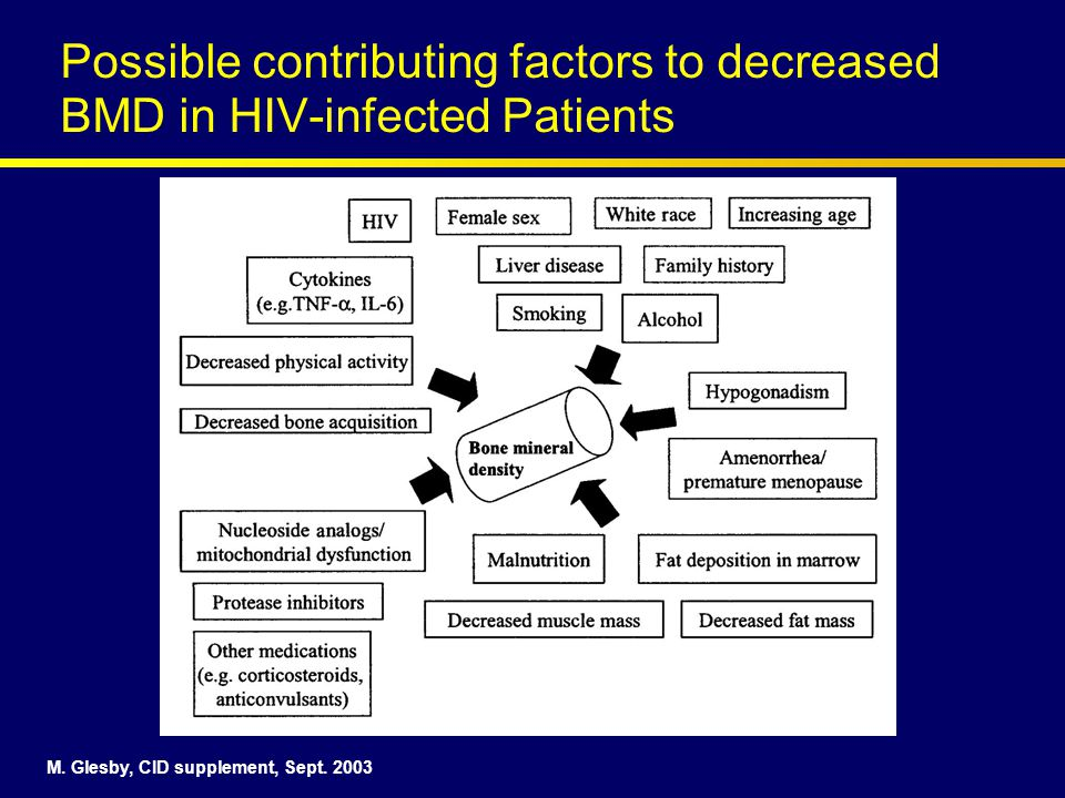 Possible contributing factors to decreased BMD in HIV-infected Patients M.