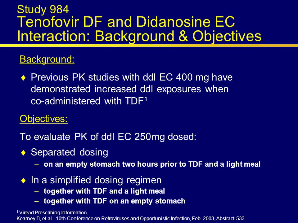 ESS30009 ABC/3TC+TDF vs ABC/3TC+EFV ABC/3TC FDC QD + EFV 600mg QD n=180 planned ABC/3TC FDC QD + TDF 300mg QD n=180 planned Screening Primary Endpoint Proportion with HIV-1 RNA <50 c/mL at week 48 * Randomization (1:1) stratified by HIV-1 RNA <100K or ≥100K c/mL Gallant JE, et al.