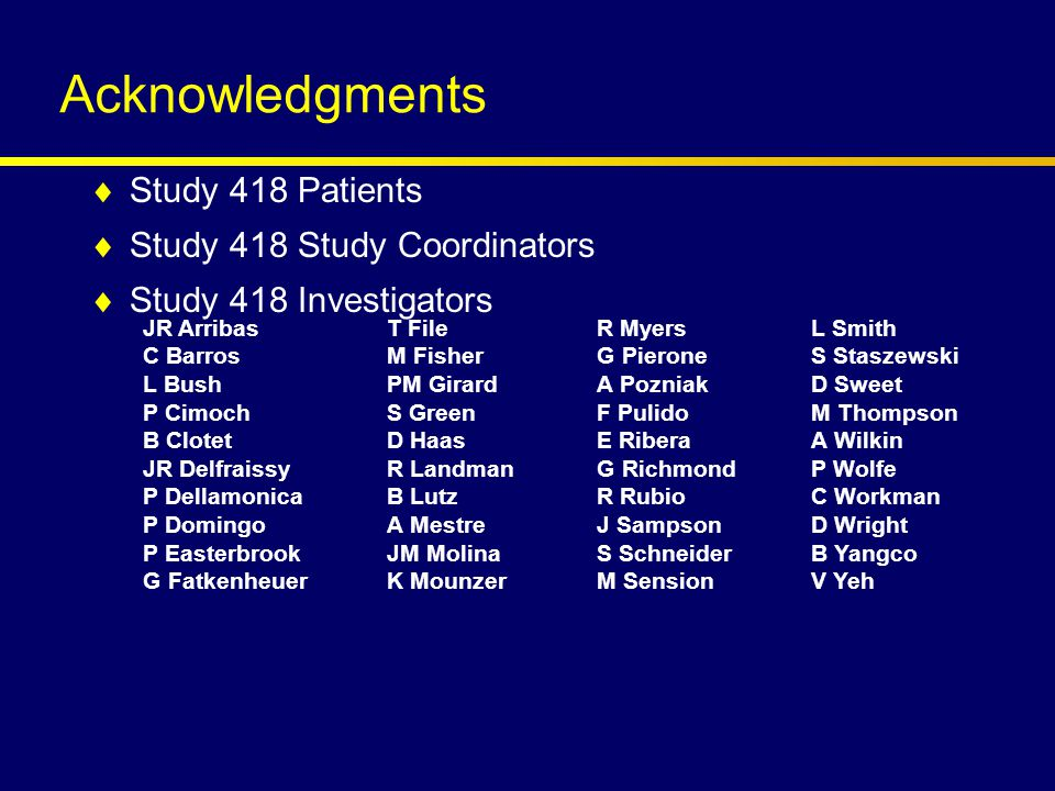Acknowledgments  Study 418 Patients  Study 418 Study Coordinators  Study 418 Investigators  Gilead Sciences for provision of tenofovir and emtricitabine  Abbott Laboratories: –N Travers, K Luff, J Hairrell, A Cekander, KR King JR Arribas C Barros L Bush P Cimoch B Clotet JR Delfraissy P Dellamonica P Domingo P Easterbrook G Fatkenheuer T File M Fisher PM Girard S Green D Haas R Landman B Lutz A Mestre JM Molina K Mounzer R Myers G Pierone A Pozniak F Pulido E Ribera G Richmond R Rubio J Sampson S Schneider M Sension L Smith S Staszewski D Sweet M Thompson A Wilkin P Wolfe C Workman D Wright B Yangco V Yeh