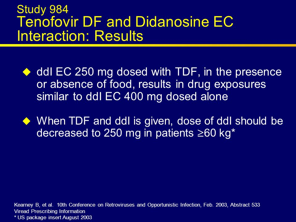 All Grades Through Week 96 TDF+3TC+EFV d4T+3TC+EFV (n=299)(n=301) Patients (%) with events4%*20%* Peripheral neuritis/neuropathy3%*10%* Lipodystrophy**1%*12%* Lactic acidosis**01% Pancreatitis00 Relative risk (95% CI) for toxicity (d4T/TDF)5.5 (3.0, 10.3) *p<0.001.