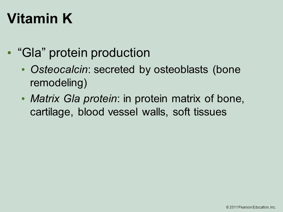 Vitamin K Gla protein production Osteocalcin: secreted by osteoblasts (bone remodeling) Matrix Gla protein: in protein matrix of bone, cartilage, blood vessel walls, soft tissues