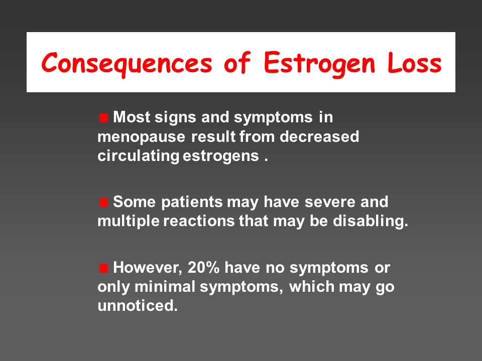 Consequences of Estrogen Loss Most signs and symptoms in menopause result from decreased circulating estrogens.