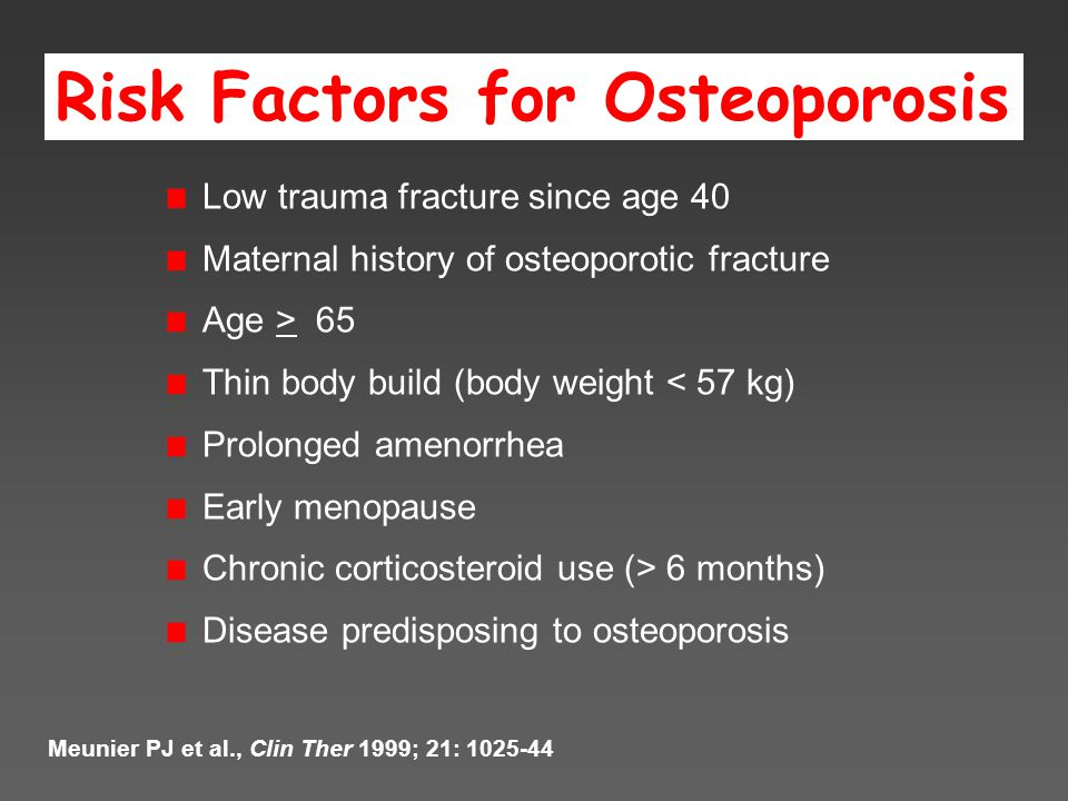 Risk Factors for Osteoporosis Low trauma fracture since age 40 Maternal history of osteoporotic fracture Age > 65 Thin body build (body weight < 57 kg) Prolonged amenorrhea Early menopause Chronic corticosteroid use (> 6 months) Disease predisposing to osteoporosis Meunier PJ et al., Clin Ther 1999; 21: 1025-44