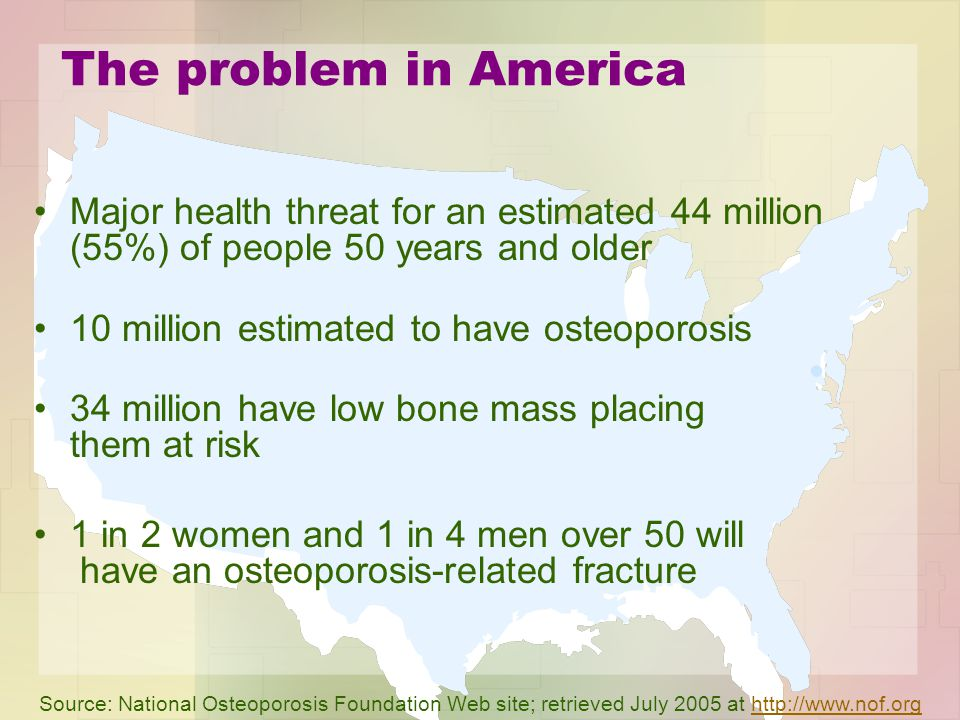 The problem in America Major health threat for an estimated 44 million (55%) of people 50 years and older 10 million estimated to have osteoporosis 34 million have low bone mass placing them at risk 1 in 2 women and 1 in 4 men over 50 will have an osteoporosis-related fracture Source: National Osteoporosis Foundation Web site; retrieved July 2005 at http://www.nof.orghttp://www.nof.org