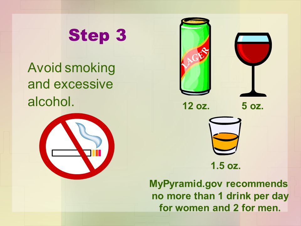 Step 3 Avoid smoking and excessive alcohol. 12 oz.5 oz.