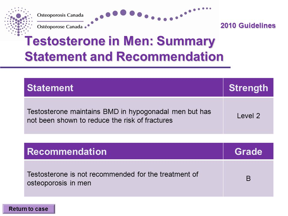 2010 Guidelines Testosterone in Men: Summary Statement and Recommendation StatementStrength Testosterone maintains BMD in hypogonadal men but has not