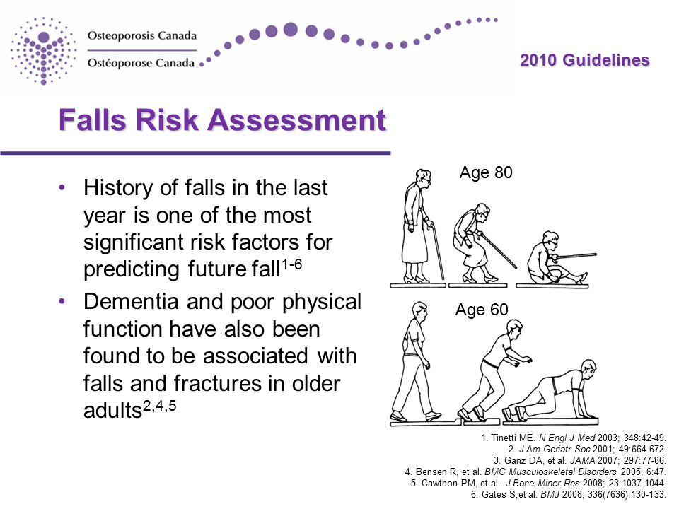 2010 Guidelines Falls Risk Assessment History of falls in the last year is one of the most significant risk factors for predicting future fall 1-6 Dementia and poor physical function have also been found to be associated with falls and fractures in older adults 2,4,5 1.