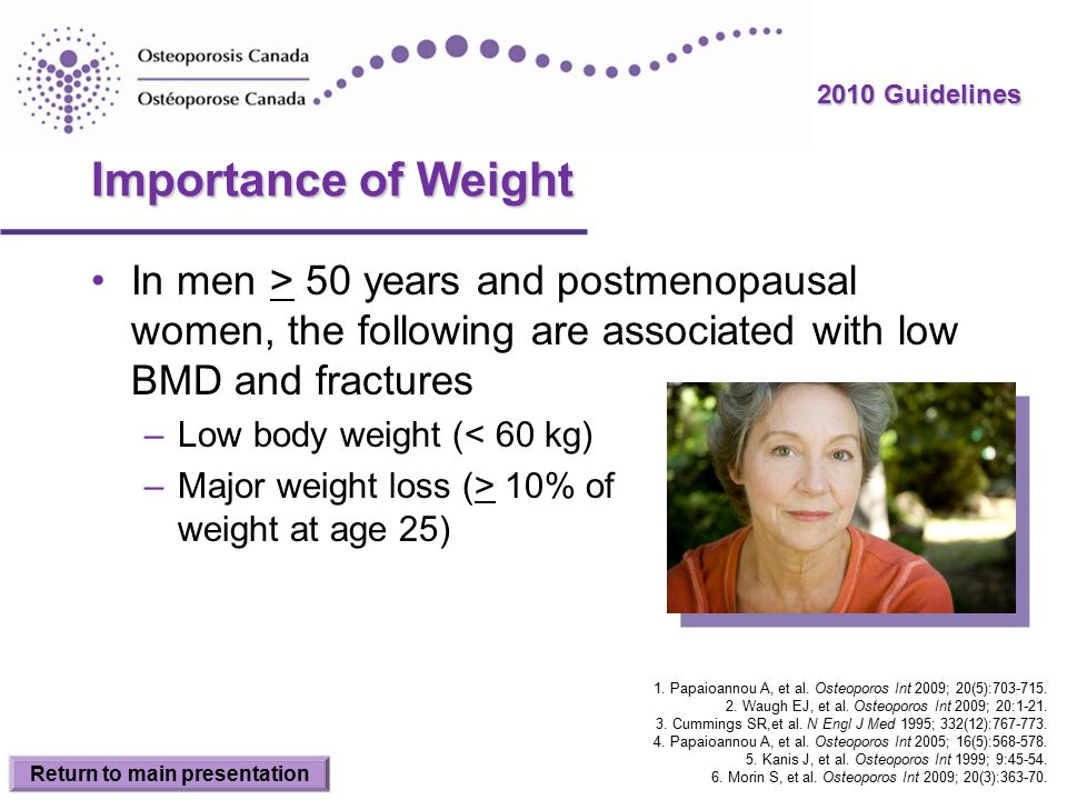 2010 Guidelines Importance of Weight In men > 50 years and postmenopausal women, the following are associated with low BMD and fractures –Low body weight (< 60 kg) –Major weight loss (> 10% of weight at age 25) Return to main presentation 1.
