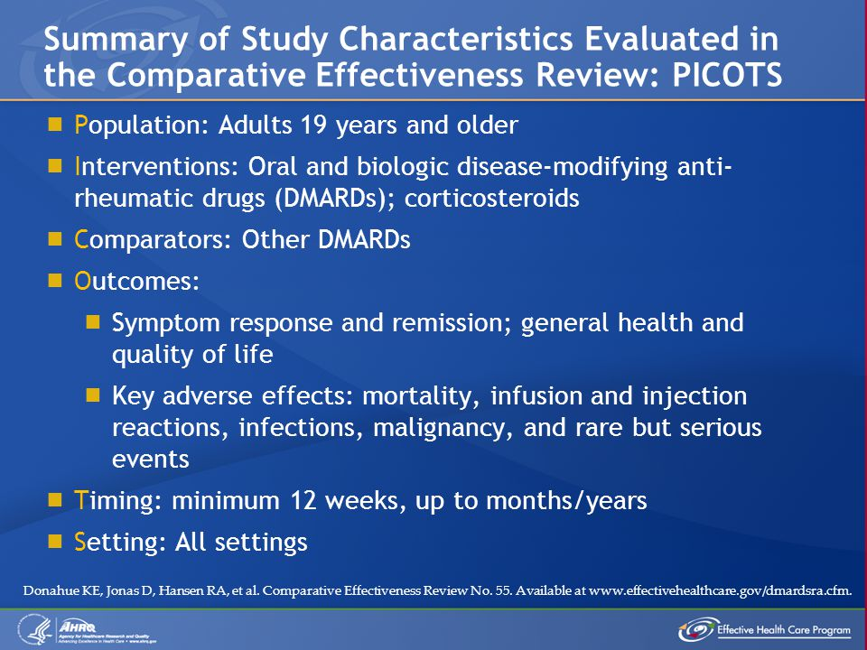  Population: Adults 19 years and older  Interventions: Oral and biologic disease-modifying anti- rheumatic drugs (DMARDs); corticosteroids  Comparators: Other DMARDs  Outcomes:  Symptom response and remission; general health and quality of life  Key adverse effects: mortality, infusion and injection reactions, infections, malignancy, and rare but serious events  Timing: minimum 12 weeks, up to months/years  Setting: All settings Summary of Study Characteristics Evaluated in the Comparative Effectiveness Review: PICOTS Donahue KE, Jonas D, Hansen RA, et al.