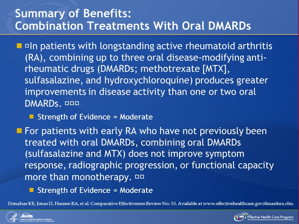 " ""In patients with longstanding active rheumatoid arthritis (RA), combining up to three oral disease-modifying anti- rheumatic drugs (DMARDs; methotr"