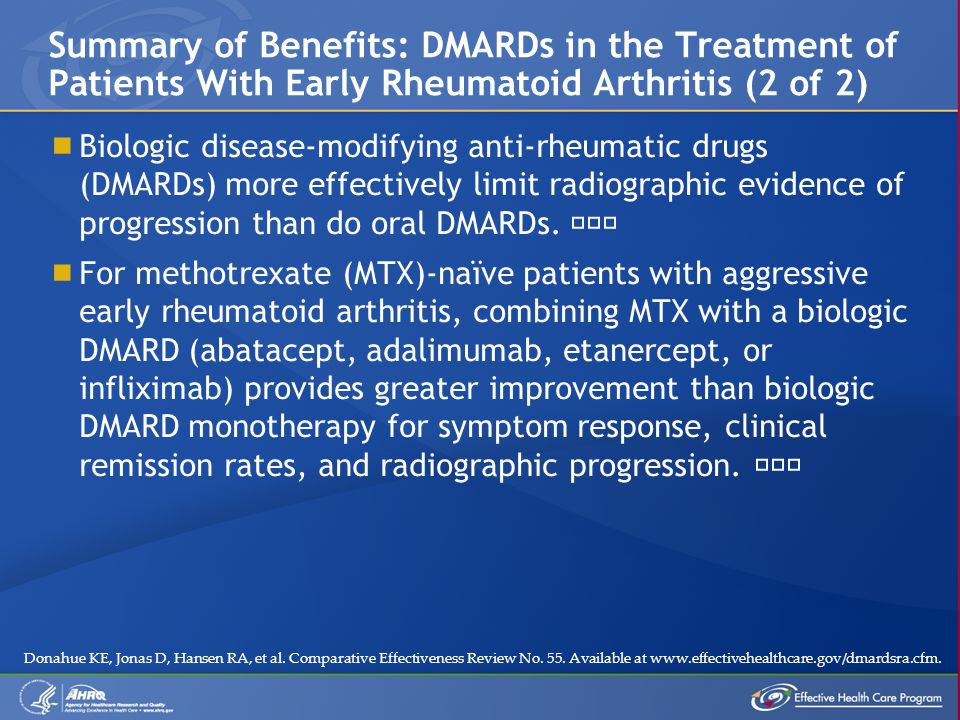  Biologic disease-modifying anti-rheumatic drugs (DMARDs) more effectively limit radiographic evidence of progression than do oral DMARDs. ˜˜™  For