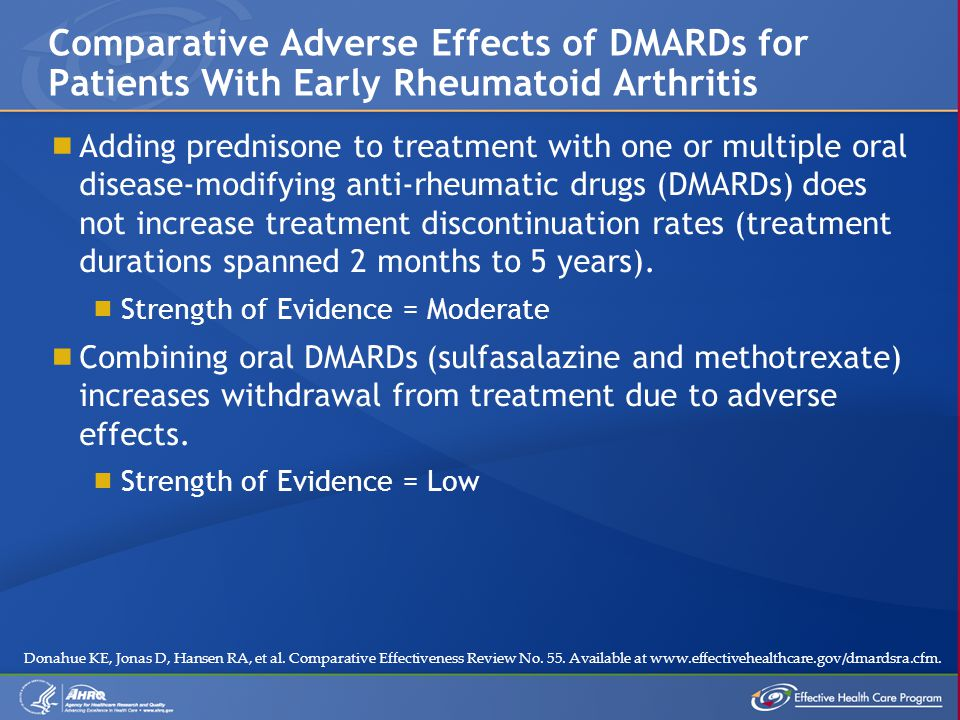  Adding prednisone to treatment with one or multiple oral disease-modifying anti-rheumatic drugs (DMARDs) does not increase treatment discontinuation rates (treatment durations spanned 2 months to 5 years).