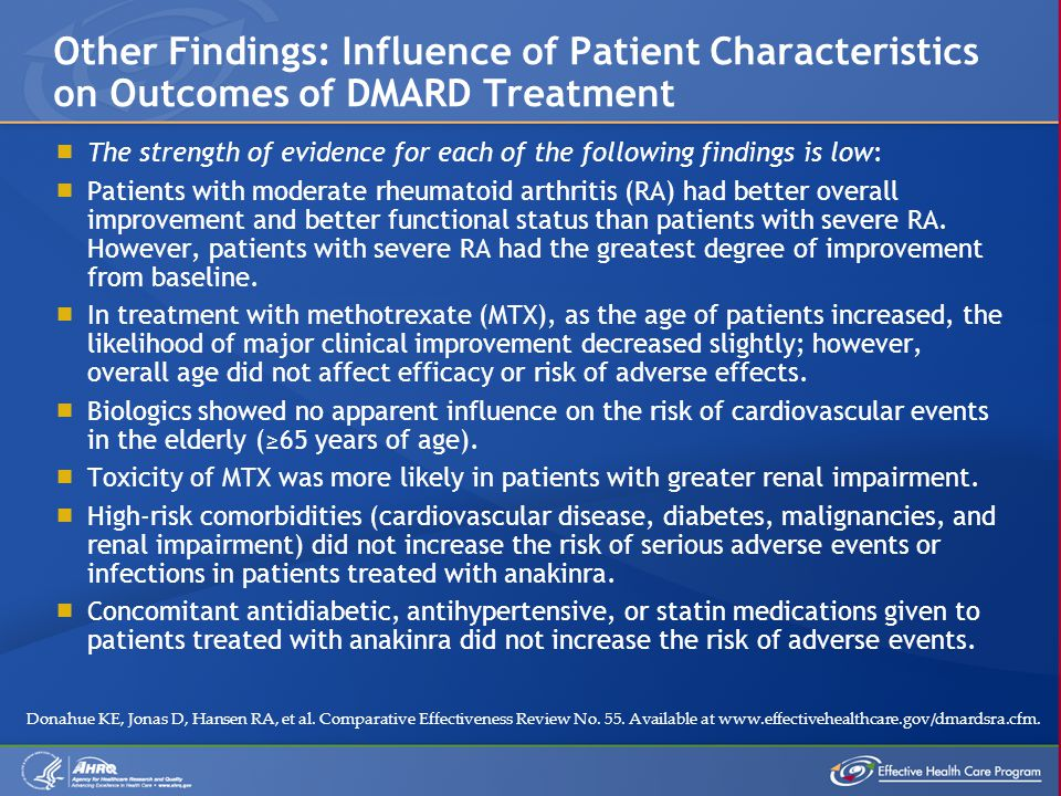  The strength of evidence for each of the following findings is low:  Patients with moderate rheumatoid arthritis (RA) had better overall improvement and better functional status than patients with severe RA.
