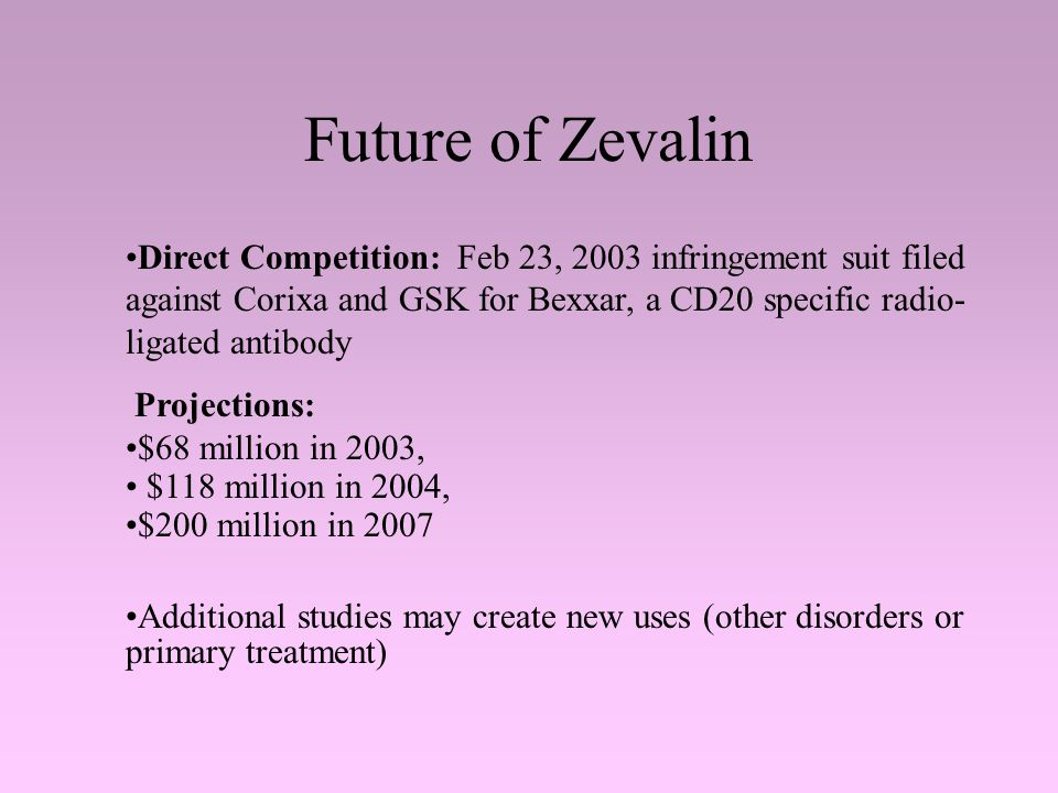 Future of Zevalin Direct Competition: Feb 23, 2003 infringement suit filed against Corixa and GSK for Bexxar, a CD20 specific radio- ligated antibody Projections: $68 million in 2003, $118 million in 2004, $200 million in 2007 Additional studies may create new uses (other disorders or primary treatment)