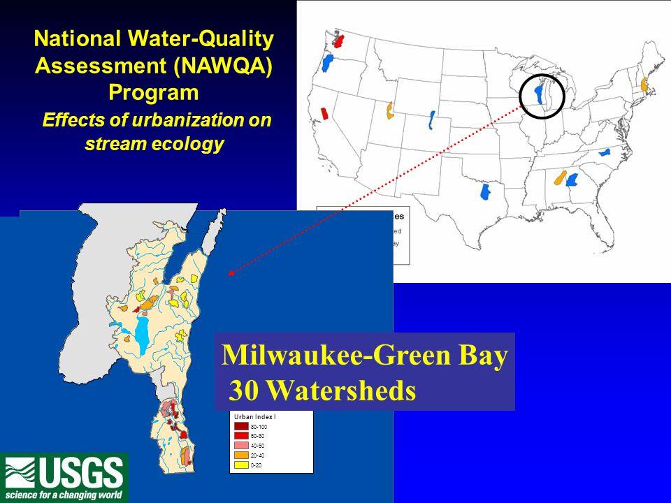Milwaukee-Green Bay – range of urbanization 30 Watersheds Watershed Size Range = 5 – 39 mi 2 Urban land cover Range = 3- 99 percent Proportion population change 1990 – 2000 Range = -0.16 – 1.38