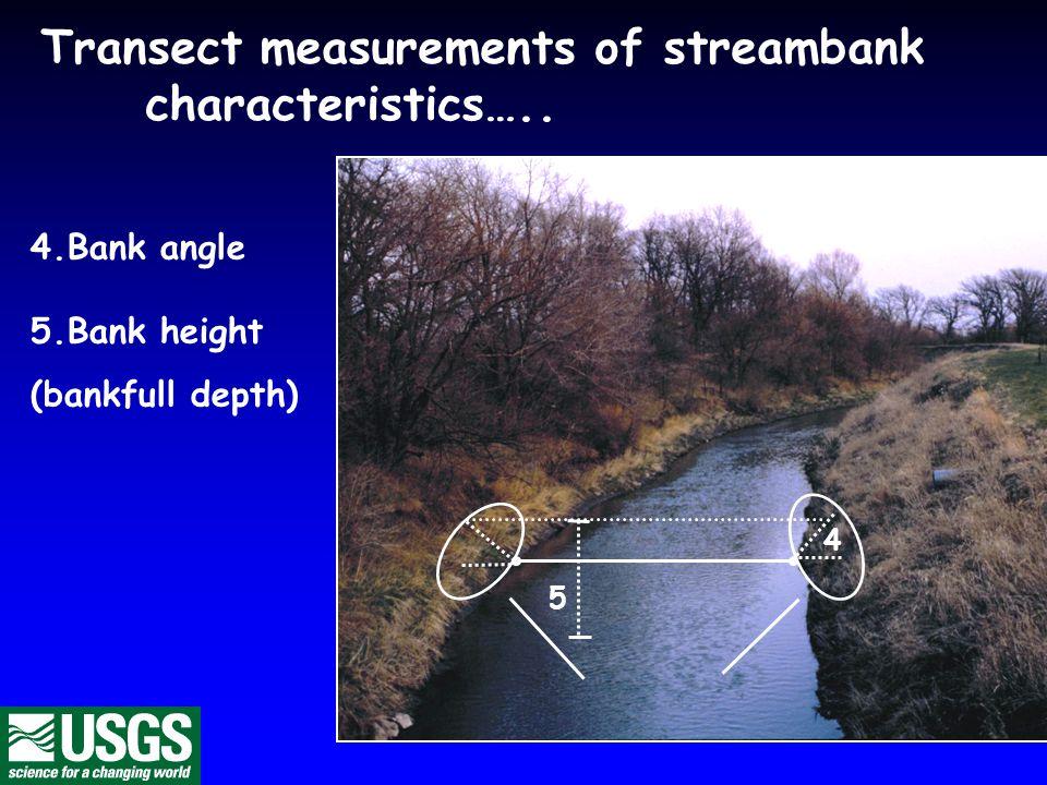 Transect measurements of streambank characteristics….. 4.Bank angle 5.Bank height (bankfull depth) 4 5