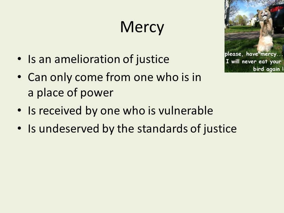 Mercy Is an amelioration of justice Can only come from one who is in a place of power Is received by one who is vulnerable Is undeserved by the standards of justice
