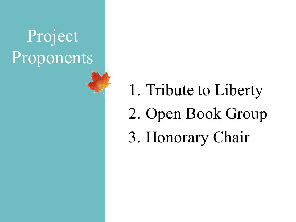 Project Proponents 1.Tribute to Liberty 2.Open Book Group 3.Honorary Chair