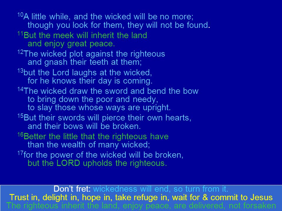 10 A little while, and the wicked will be no more; though you look for them, they will not be found.
