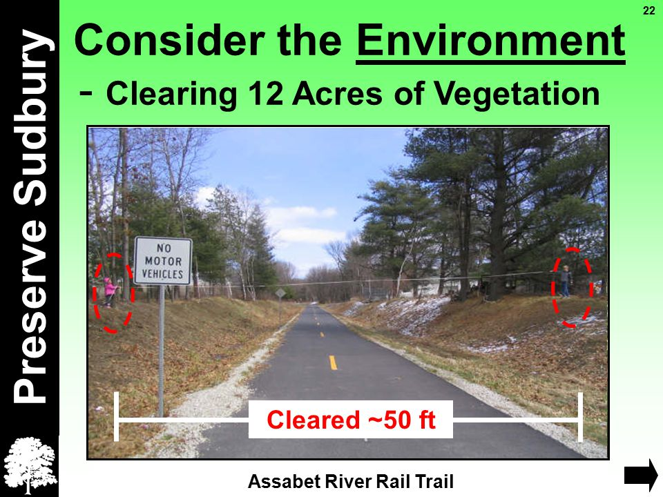 Consider the Environment - Clearing 12 Acres of Vegetation Preserve Sudbury ~22 ft Rail bed in Concord 22 Assabet River Rail Trail Cleared ~50 ft