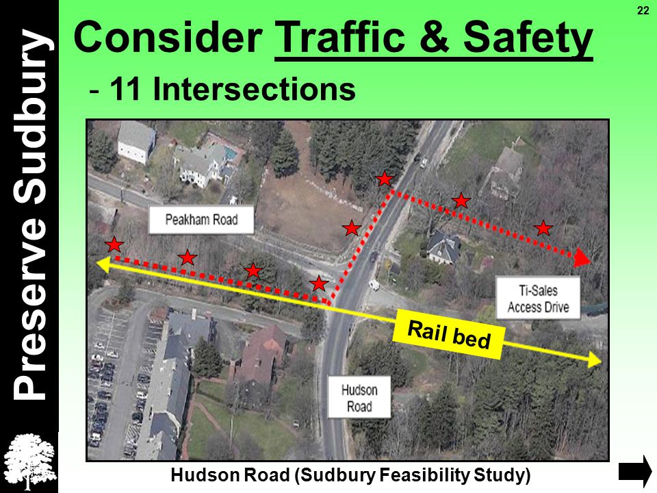 Consider Traffic & Safety Preserve Sudbury - 11 Intersections Rail bed Hudson Road (Sudbury Feasibility Study) 22