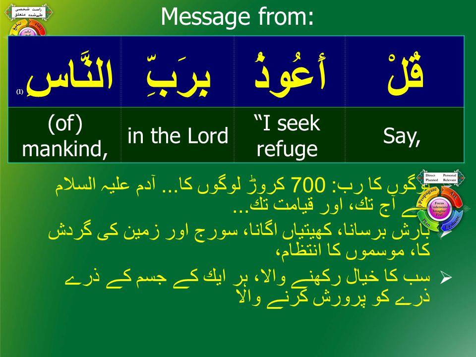 قُلْأَعُوذُبِرَبِّالنَّاسِ ( 1) Say, I seek refuge in the Lord (of) mankind, Message from:  لوگوں كا رب: 700 كروڑ لوگوں كا...