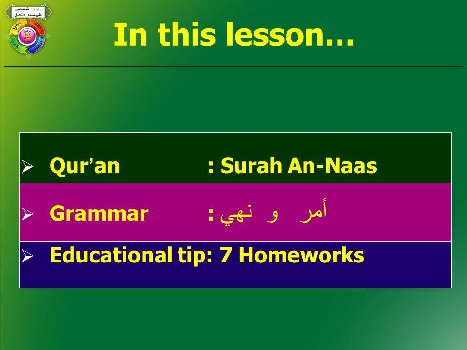 In this lesson…  Qur ' an: Surah An-Naas  Grammar: أمر و نھي  Educational tip: 7 Homeworks