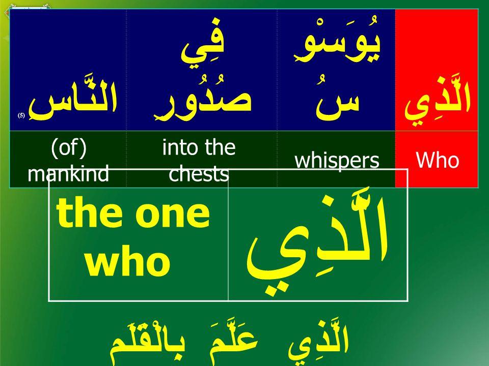 الَّذِي يُوَسْوِ سُ فِي صُدُورِالنَّاسِ ( 5) Whowhispers into the chests (of) mankind الَّذِي عَلَّمَ بِالْقَلَم the one who الَّذِي